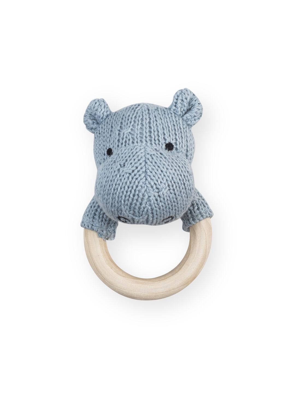 Afbeelding Rammelaar bijtring Soft knit hippo soft blue