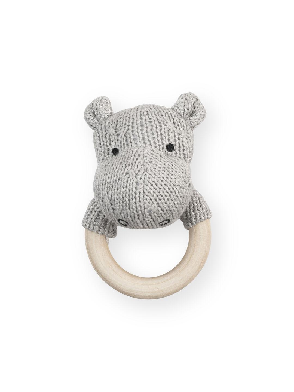 Afbeelding Rammelaar bijtring Soft knit hippo light grey