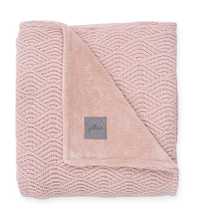 Afbeelding Jollein Deken Wieg 75x100cm River Knit I pale pink/coral fleece