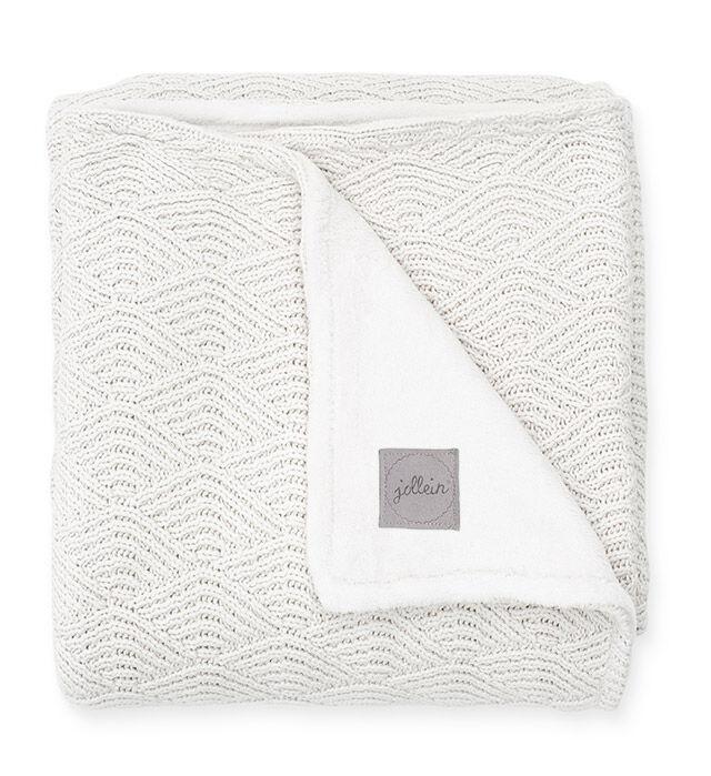 Afbeelding Deken Wieg 75x100cm River Knit cream white/coral fleece