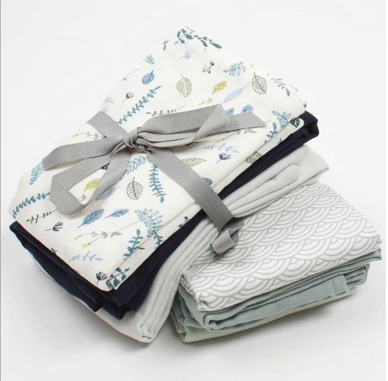Afbeelding Set van 3 Hydrofiele doeken – Pressed Leaves Blue