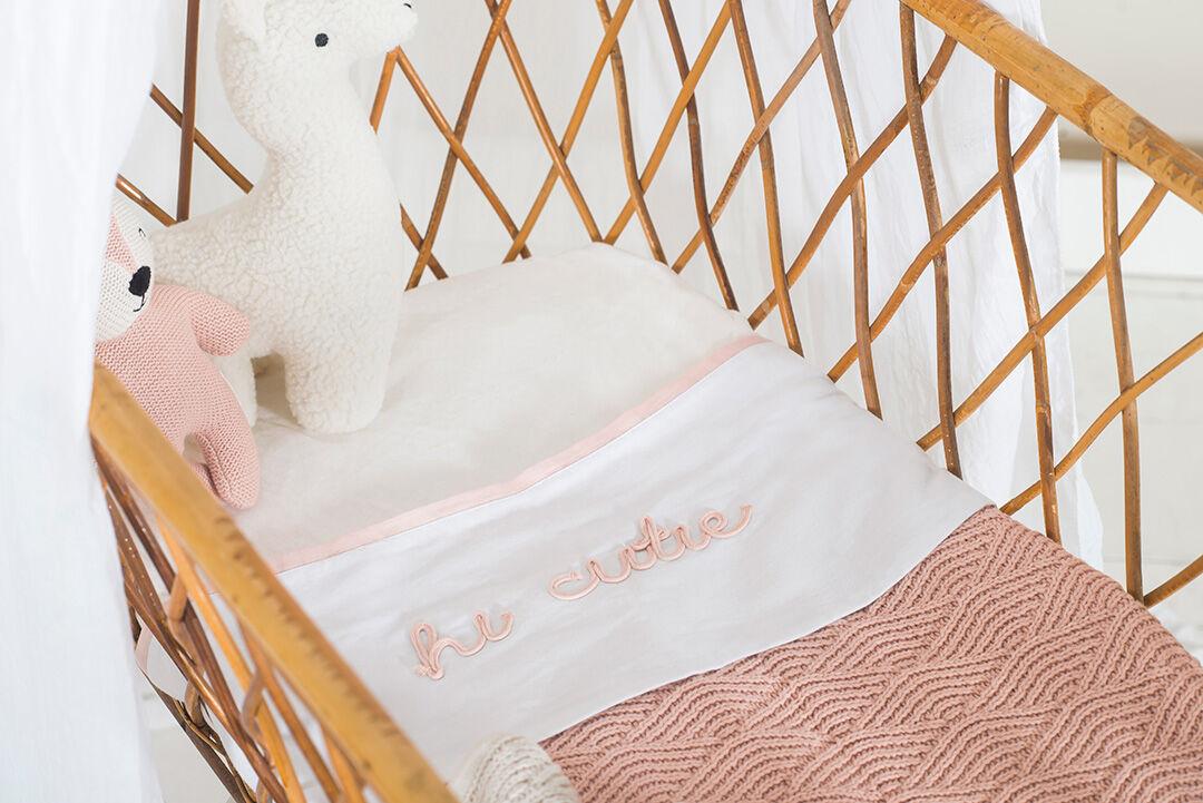 Afbeelding Deken Wieg 75x100cm River Knit pale pink