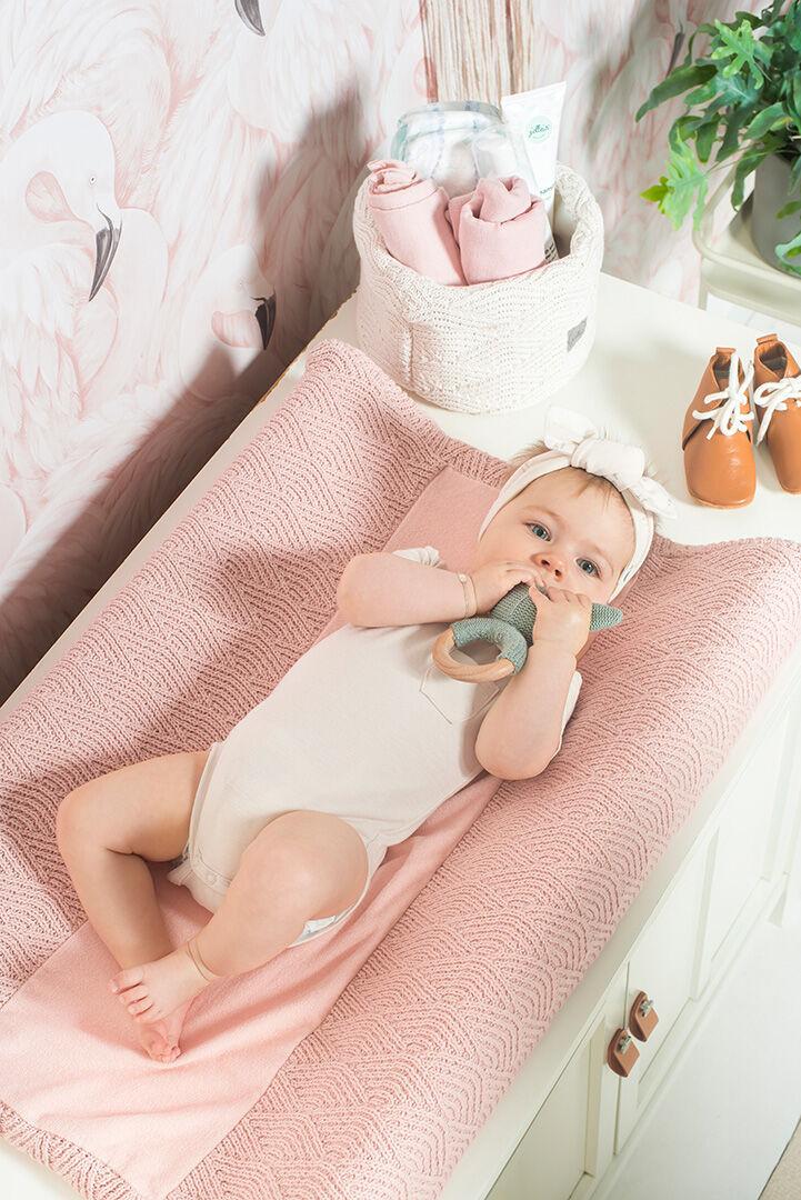 Afbeelding Jollein Aankleedkussenhoes 50x70cm River Knit I pale pink