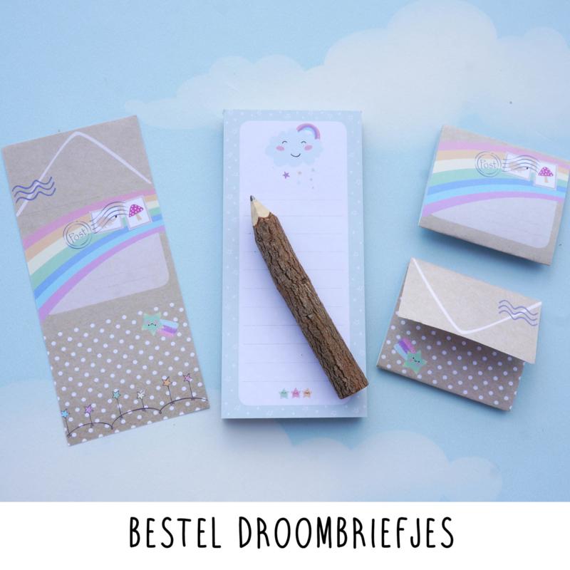Afbeelding Droombriefjes met houten boomstam potlood