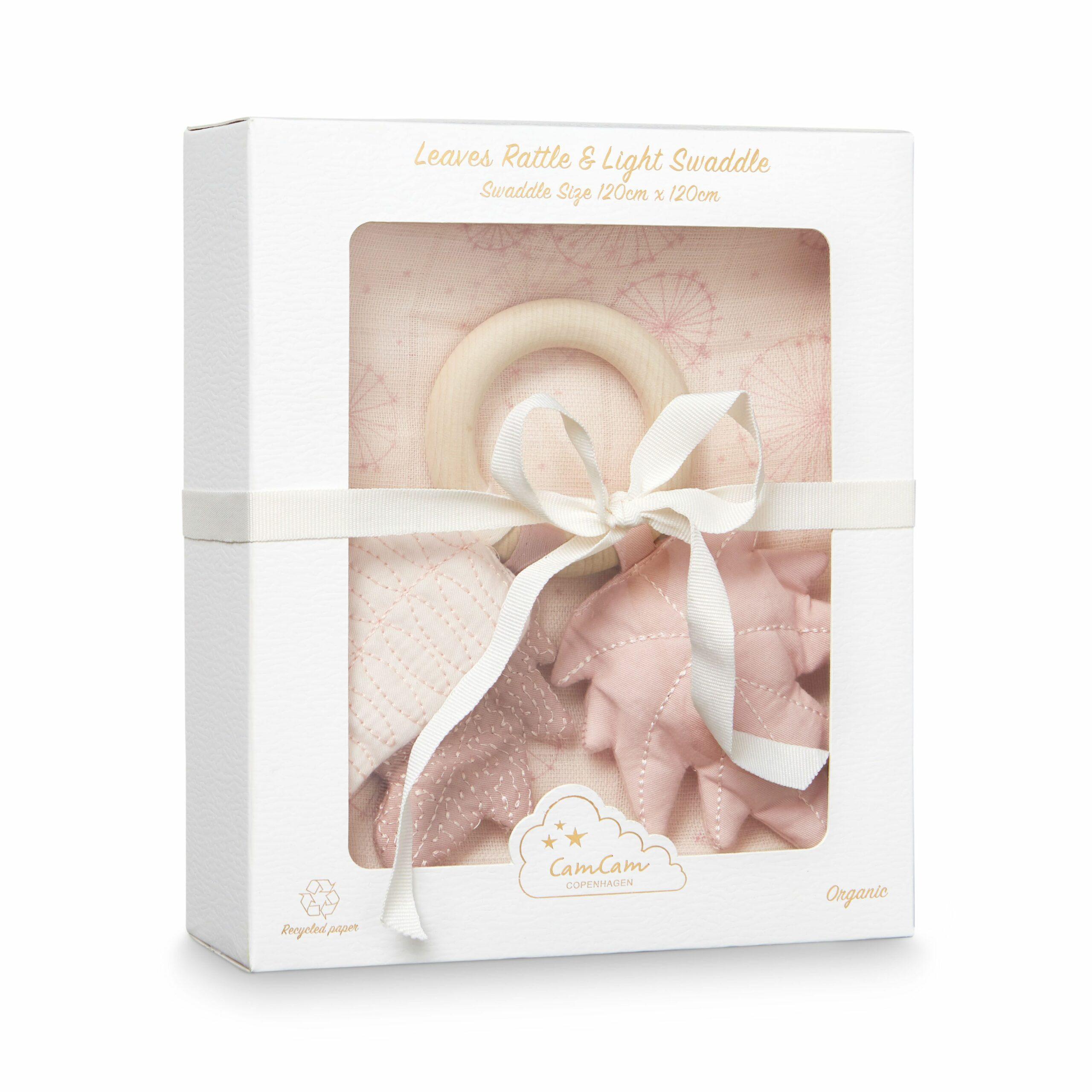 Afbeelding Geschenkdoos met swaddle en rammelaar Dandelion Rose