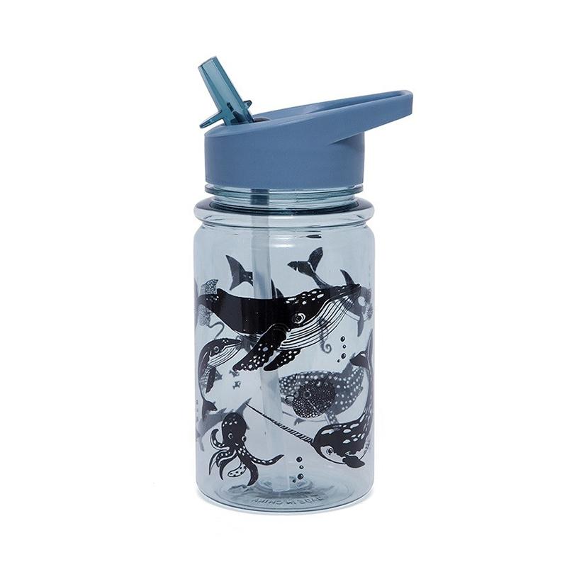 Afbeelding Drinkfles Blauw met zeedieren