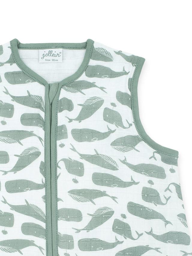 Afbeelding Slaapzak zomer hydrofiel 90cm – Whales ash green