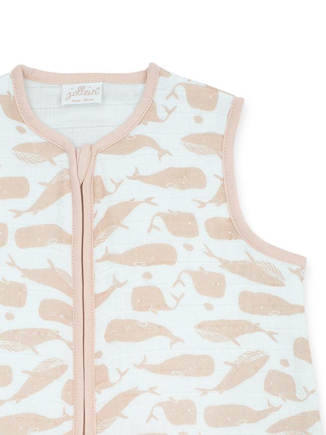 Afbeelding Slaapzak zomer hydrofiel 90cm – Whales pale pink