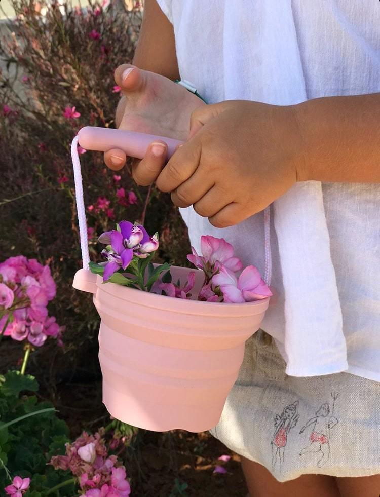 Afbeelding Scrunch emmertje met schepje I Oud roze