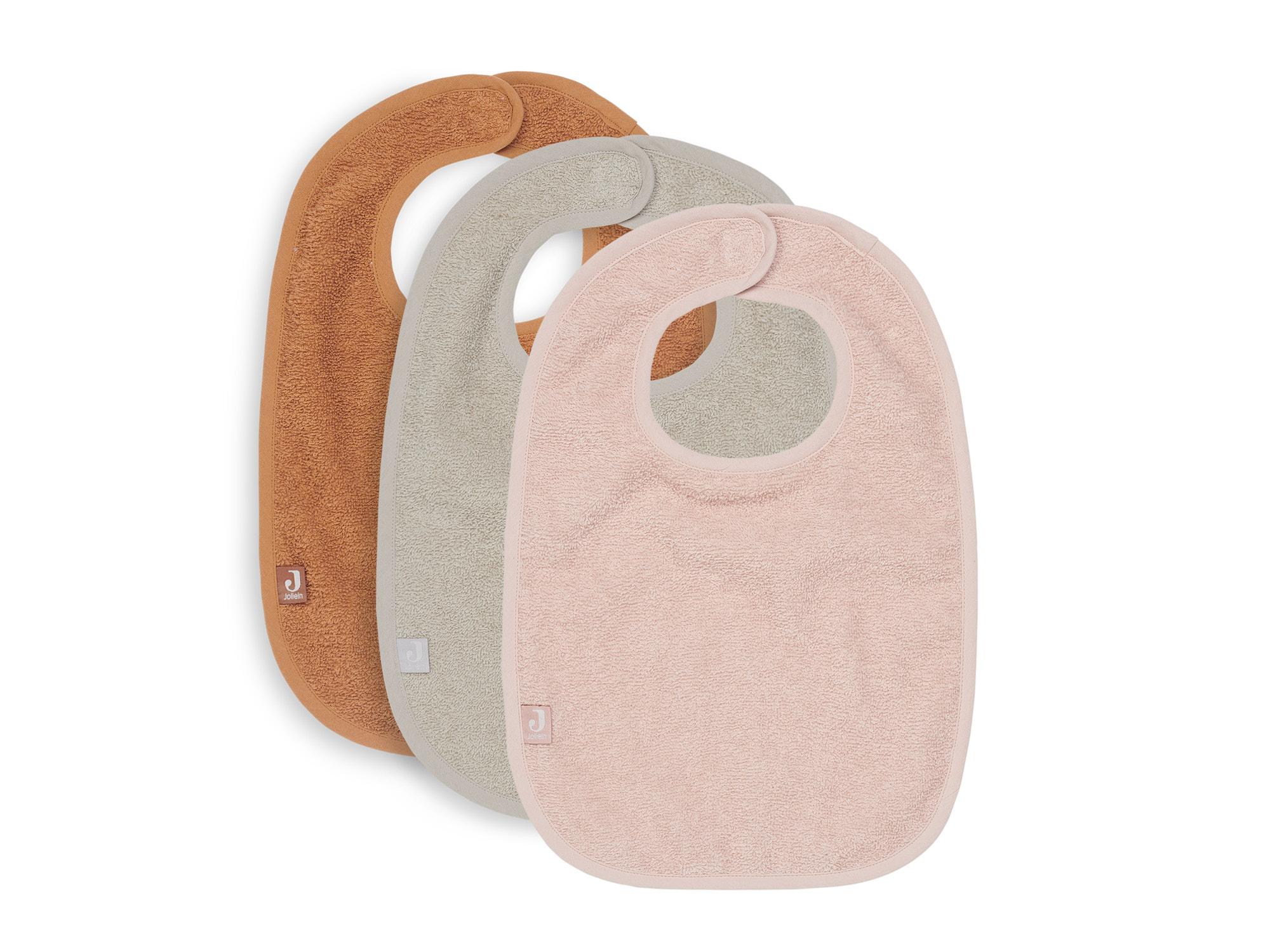 Afbeelding Jollein Set van 3 slabbetjes badstof I Pale pink/nougat/caramel