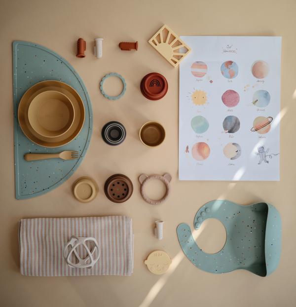 Afbeelding Mushie Placemat I Confetti Cambridge Blue