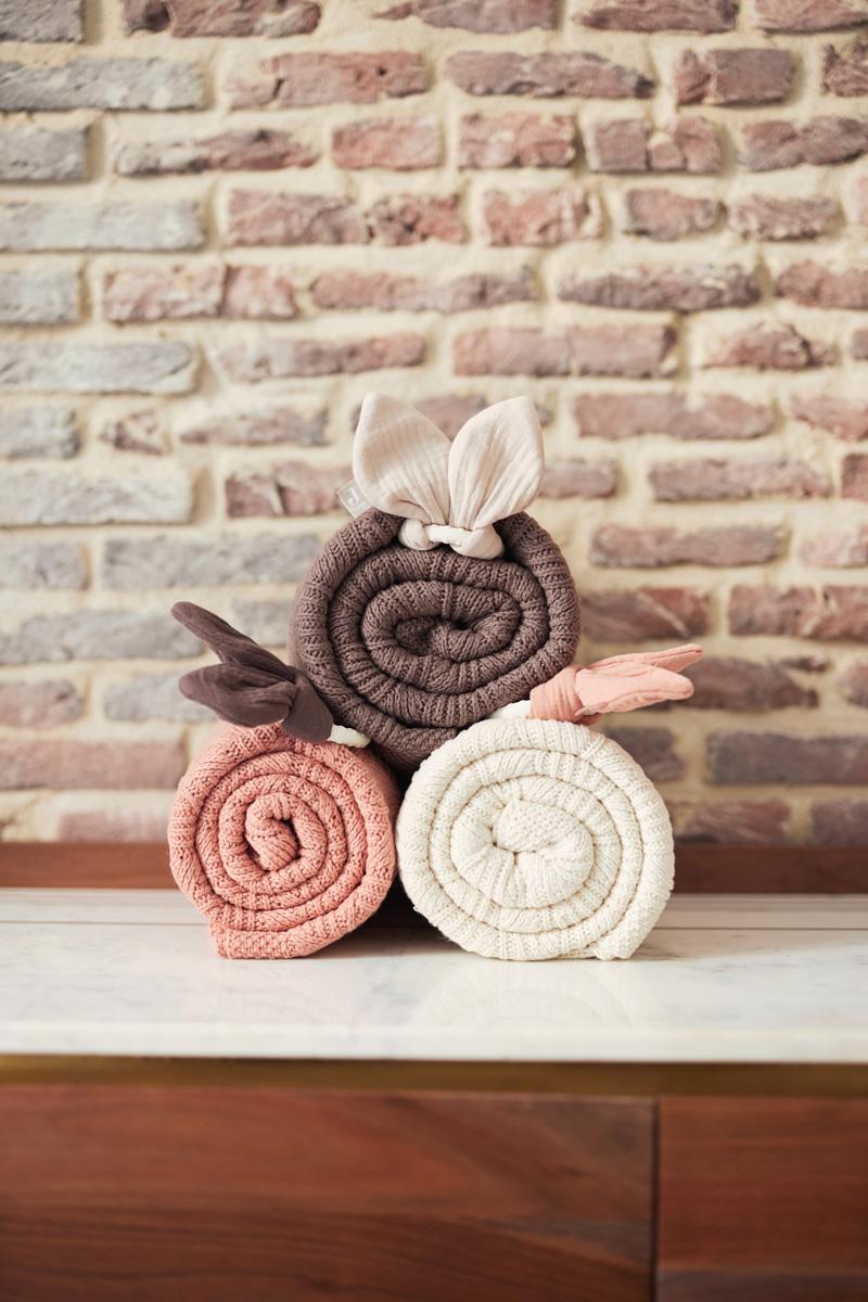 Afbeelding Jollein Deken wieg 75x100cm Spring Knit I Chestnut