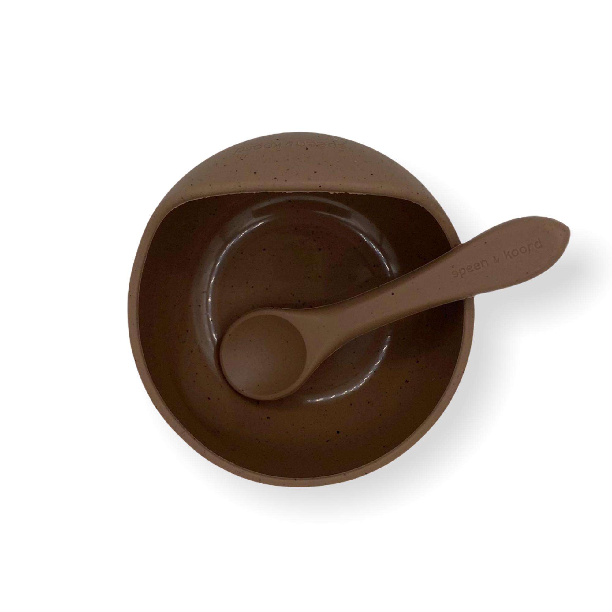Afbeelding Speen & Koord Silicone kom + lepel I Speckled Coffee