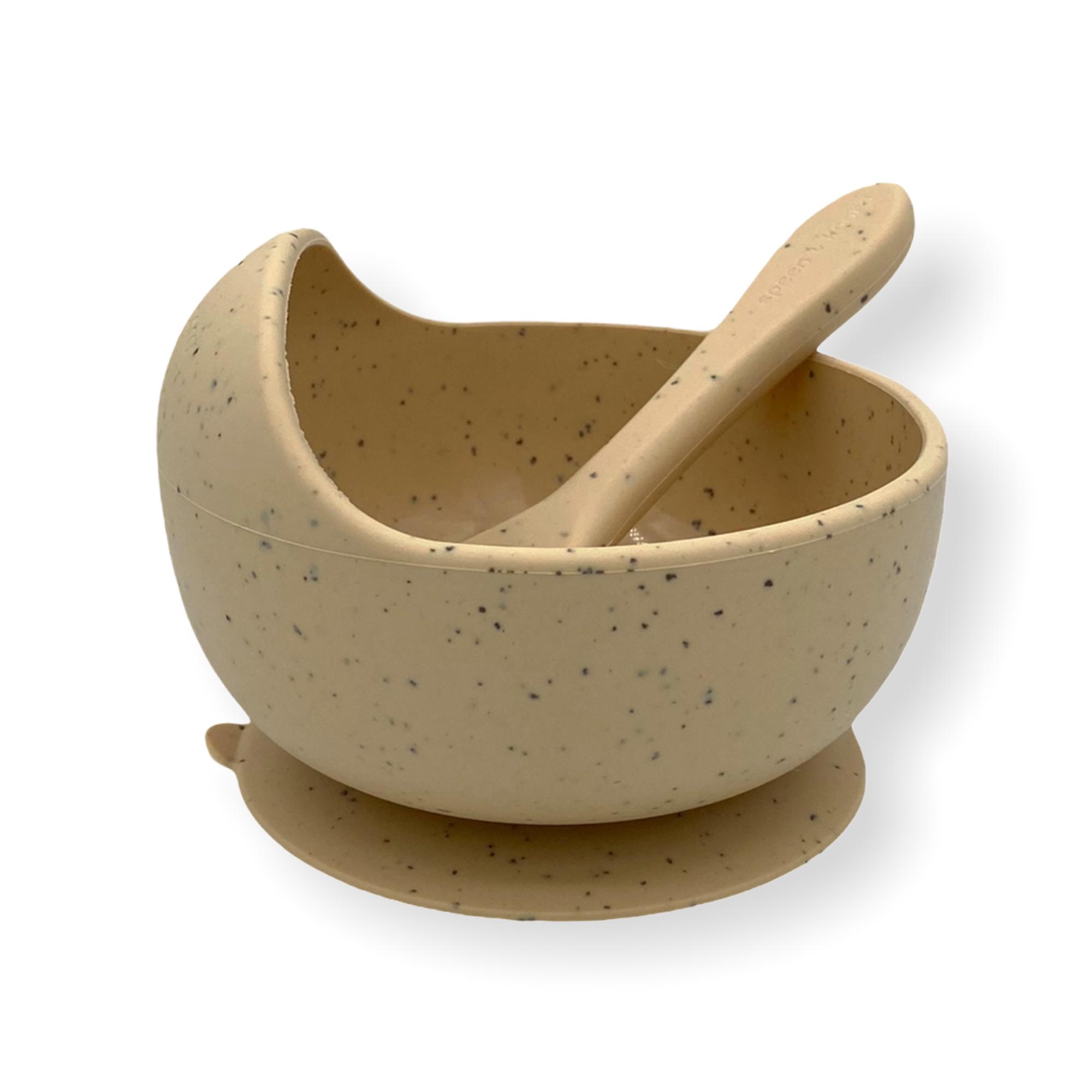 Afbeelding Speen & Koord Silicone kom + lepel I Speckled Sand